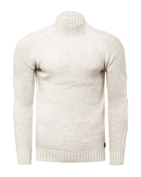 Rusty Neal - Pullover Homme Col Montant Pull Hiver Tricot Grosse Maille Chaud Col Haut Basique Chandaille 13356