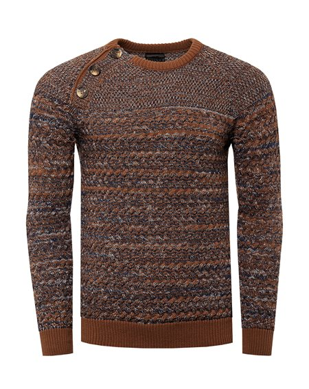 Rusty Neal - Pullover Homme Col Arrondi Boutonner Pull Hiver Chiner Tricot Grosse Maille Chaud Col Rond Basique Chandaille 13363
