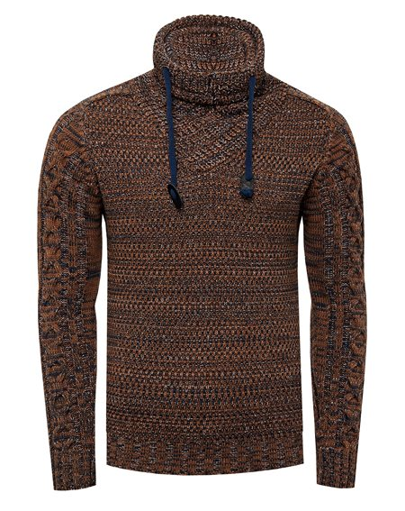 Rusty Neal - Pullover Homme Col Chale Montant Avec Cordon de Serrage Pull Hiver Chiner Tricot Grosse Maille 13369
