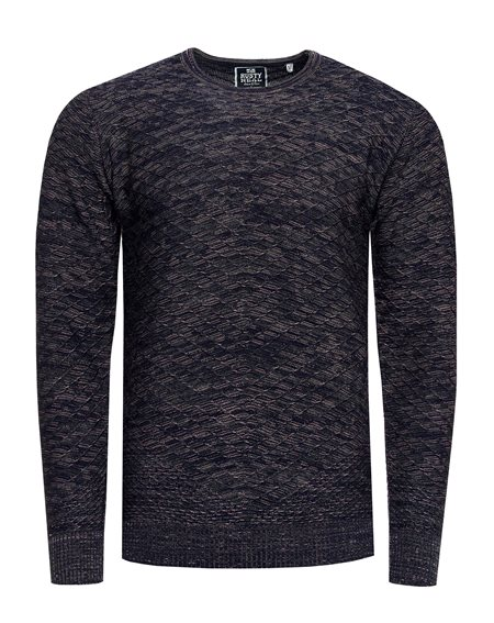 Rusty Neal - Pullover Homme Chiner Col Arrondi Pull Hiver Tricot Maille Chaud Basique Chandaille 13371